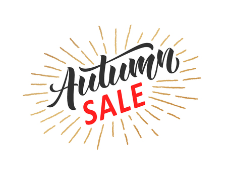 Autumn sale hand written lettering with golden retro styled sun rays. Discount banner, vector illustration.  イラスト・ベクター素材