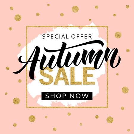 Autumn sale banner design template with golden glitter and lettering for flyer, invitation, poster, web site. Special offer, seasonal sale advertisment.