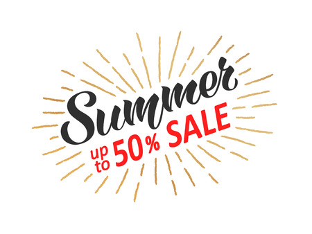 Summer sale hand written lettering with golden retro styled sun rays. Discount banner, vector illustration.