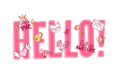 Hello lettering with girly doodles and hand drawn phrases for valentines day card design, girls t-shirt print. Hand drawn hello slogan.  イラスト・ベクター素材