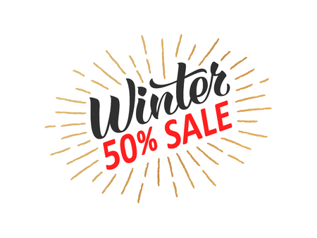 Winter sale hand written lettering with golden retro styled sun rays. Discount banner, vector illustration.  イラスト・ベクター素材