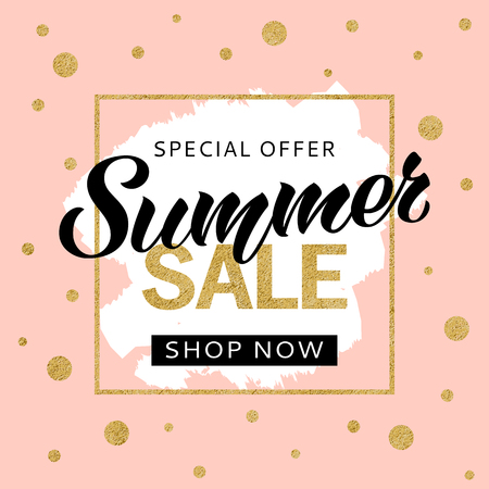 Summer sale banner design template with golden glitter and lettering for flyer, invitation, poster, web site. Special offer, seasonal sale advertisment.