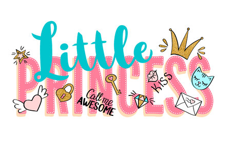 Little Princess lettering with girly doodles and hand drawn phrases for card design, girls t-shirt print, posters. Hand drawn slogan with golden glitter elements.
