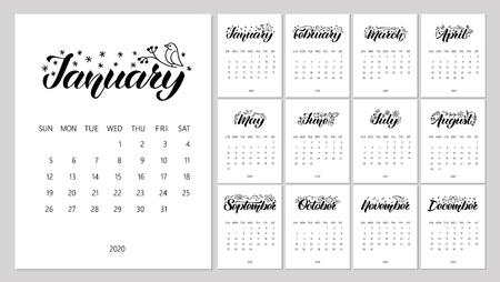 Vector Calendar Planner for 2020 Year with handdrawn lettering and doodles. Set of 12 Months. Week Starts Sunday. Stationery Design. Objects isolated on white background.