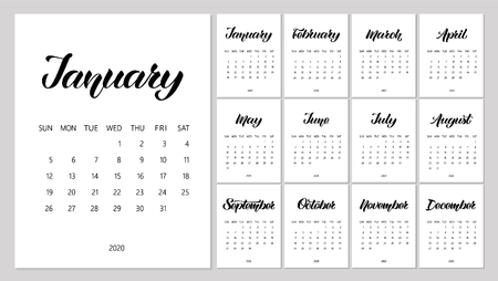 Vector Calendar Planner for 2020 Year with handdrawn lettering. Set of 12 Months. Week Starts Sunday. Stationery Design. Objects isolated on white background.