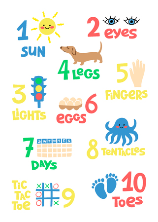 Numbers and counting practice printable poster, worksheet for pre school, kindergarten kids. Colorful   numbers flashcard for kids learning to count.  イラスト・ベクター素材