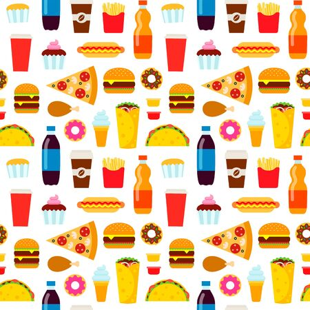 Colorful fast food seamless pattern. Junk food vector repeating background for textile design, wrapping paper, wallpaper. Ilustrace