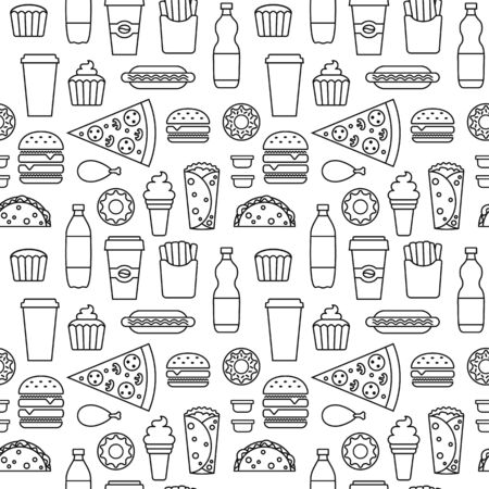 Contoured fast food seamless pattern. Junk food outline vector repeating background for textile design, wrapping paper, wallpaper.