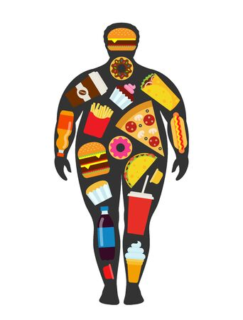 Man silhouette with scattered fast food elements. Unhealthy, junk food and obesty concept.