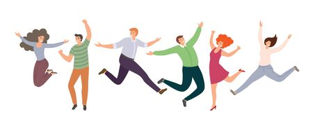 Group of happy jumping people in flat style isolated on white background. Hand-drawn collection of cartoon women and men. Funny characters for partnership, teamwork or celebration concepts  イラスト・ベクター素材