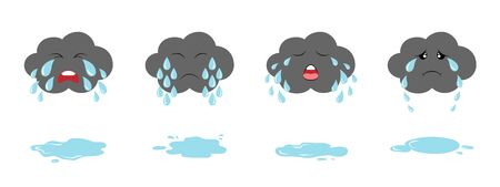 Set of dark crying clouds emoji and puddles. Fluffy rainy clouds. Cute cartoon weeping kawaii clouds collection.  イラスト・ベクター素材