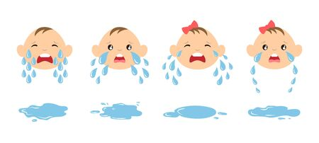 Set of cartoon crying baby faces with tear drops and puddles. Weeping kids illustration. Upset emoticons