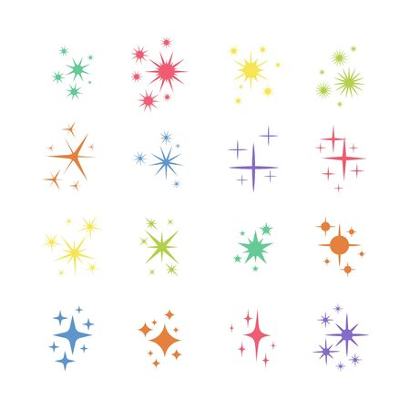Set of star, sparkle icons. Collection of bright fireworks, twinkles, shiny flash. Glowing light effect stars and bursts .