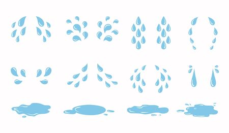 Cartoon tear drops and puddles set. Sorrow weeping cry streams, tear blob or sweat drop. eyes tears or rain droplets
