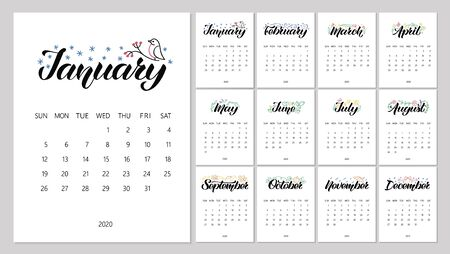 Vector Calendar Planner for 2020 Year with handdrawn lettering and color doodles. Set of 12 Months. Week Starts Sunday. Stationery Design. Ilustracja