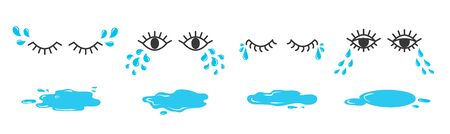 Set of doodle eyes crying with tear drops and puddles. Cartoon weeping emoji collection.  イラスト・ベクター素材