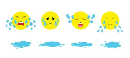Set of cartoon crying emoji faces with tear drops and puddles. Weeping upset emoticons