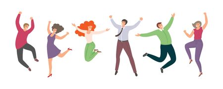 Group of happy jumping people in flat style isolated on white background. Hand-drawn funny cartoon women and men.