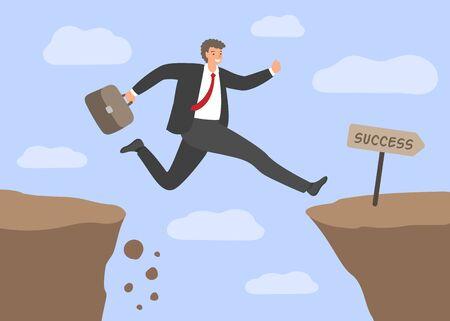 Défis et succès. Homme d'affaires sautant par-dessus l'abîme. Concept de risques commerciaux, surmonter les obstacles au travail, chemin difficile vers le succès. Illustration vectorielle