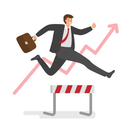 Businessman jumping over hurdles in race for the success. Concept of business challenge, successful overcoming. Vector illustration.  イラスト・ベクター素材