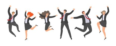 Group of happy jumping office workers in flat style isolated on white background. Cheerful Working Day. Business people are jumping, celebrating the achievement of victory.