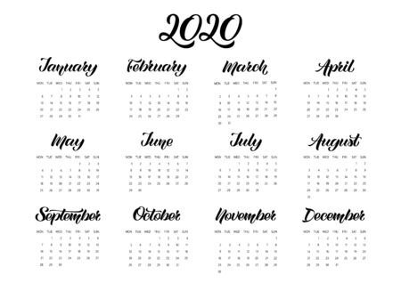 Vector Calendar Planner for 2020 Year with handdrawn lettering. Set of 12 Months. Week starts Monday. Stationery Design. Objects isolated on white background.