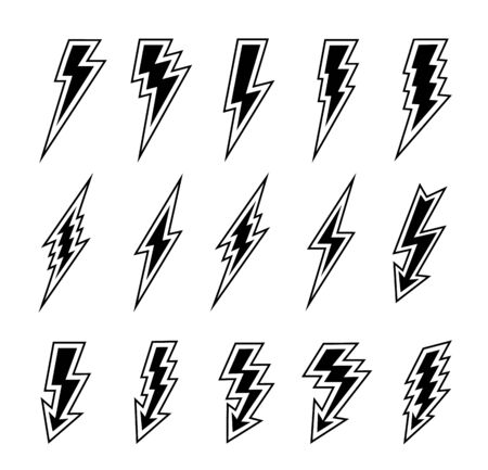 Lightning bolts vector logo set. Concept of energy and electricity. Flash collection. Power and electric symbols, high speed, swiftness and rapid emblem.
