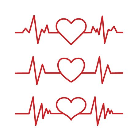 Heart pace line with heart shape. Cardiology clinic logo. Abstract ECG heartbeat line. Valentines day design. 向量圖像
