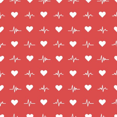 Seamless pattern with heart symbols and heartpace line.