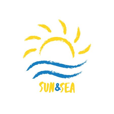 Abstract travel agency logo template. Sun with sea waves in sketchy hand drawn style. Sunrise vacation, holiday logotype. Ilustrace