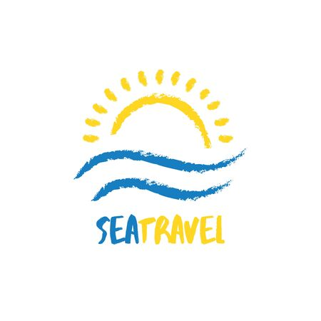Abstract travel agency  template. Sun with sea waves in sketchy hand drawn style. Sunrise vacation, holiday  .