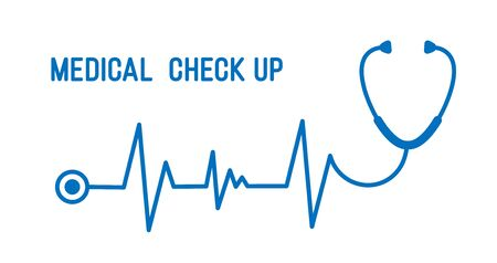 Stethoscope with heart pace line illustration. Medical check up concept.