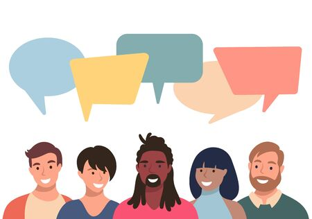 People avatars with speach bubbles. Men and woman communication, talking llustration. Coworkers, team, thinking, question, idea, brainstorm concept. Vettoriali