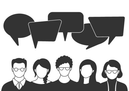 People avatars with speach bubbles in flat style. Men and woman communication, talking vector llustration. Coworkers, team, thinking, question, idea, brainstorm concept. Ilustración de vector