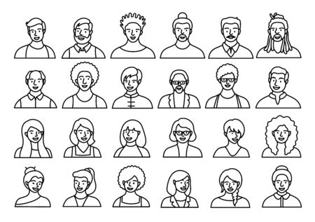 Contour set of persons, avatars, people heads of different ethnicity and age in flat style. Multi nationality social networks line people faces collection. Vettoriali