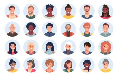 Satz von Personen, Avataren, Menschenköpfen unterschiedlicher ethnischer Zugehörigkeit und Alter im flachen Stil. Menschen mit mehreren Nationalitäten in sozialen Netzwerken stehen vor der Sammlung. Vektorgrafik