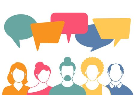 People avatars with speach bubbles in flat style. Men and woman communication, talking vector llustration. Coworkers, team, thinking, question, idea, brainstorm concept.
