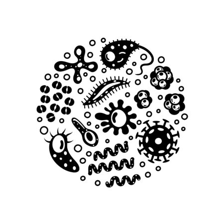 Bacteria and viruses in circle, micro-organisms disease-causing objects. Different types, bacteria, viruses, coronavirus, infusorium, streptococcus, fungi, protozoa. Vector illustration. Ilustración de vector
