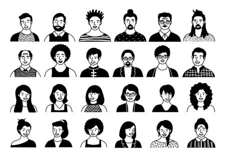 Hand drawn set of persons, avatars, people heads of different ethnicity and age in flat style. Multi nationality people faces social network line icons vector collection. Ilustrace