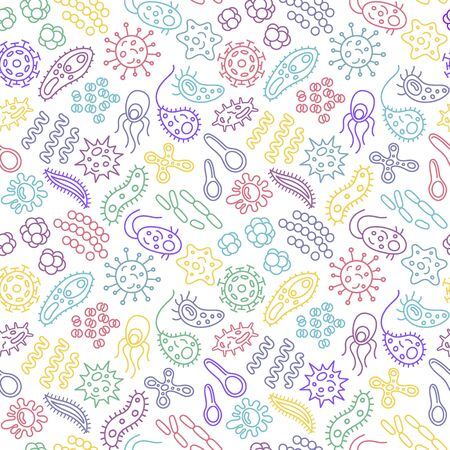 Seamless pattern with bacteria, viruses and germs. Microorganism cells repeating background for textil design, wrapping papper, wallpapper. Color contour vector illustration.