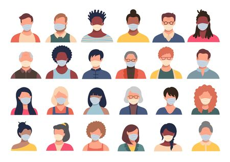 Vector set of persons, avatars, people heads of different ethnicity and age in protective masks. Men and women in flat style following recommendations for the prevention of coronavirus. Vettoriali