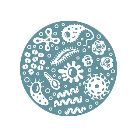 Bacteria and viruses in circle, micro-organisms disease-causing objects. Different types, bacteria, viruses, coronavirus, infusorium, streptococcus, fungi, protozoa. Vector illustration.