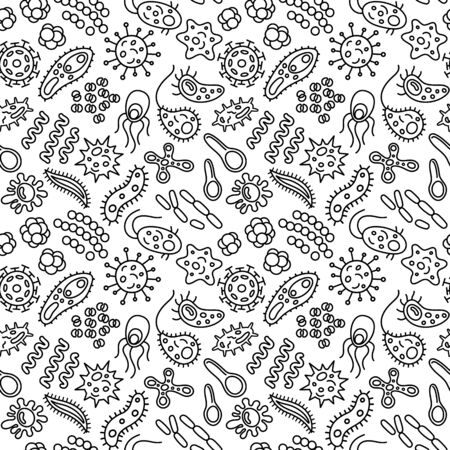 Seamless pattern with bacteria, viruses and germs. Microorganism cells repeating background for textil design, wrapping papper, wallpapper. Contour illustration.