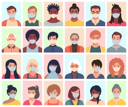 Set of persons, avatars, people heads of different ethnicity and age in protective masks. Men and women in flat style following recommendations for the prevention of coronavirus.