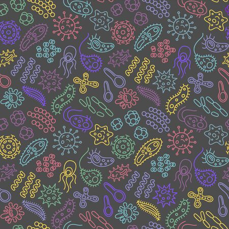 Seamless pattern with bacteria, viruses and germs. Microorganism cells repeating background for textil design, wrapping papper, wallpapper. Color contour on dark backdrop, vector illustration. Vettoriali