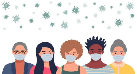 People in protective masks and flying coronavirus in flat style. Men and women wearing medical masks to prevent disease, flu, quarantine concept. Vector illustration.