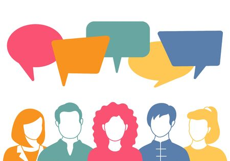 People avatars with speech bubbles in flat style. Men and woman communication, talking vector llustration. Coworkers, team, thinking, question, idea, brainstorm concept.