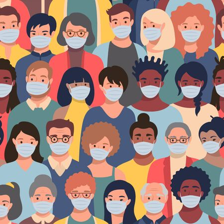 Seamless pattern with people faces in protective masks of different ethnicity and ages. Concept of coronavirus quarantine, air pollution protection repeating vector background.