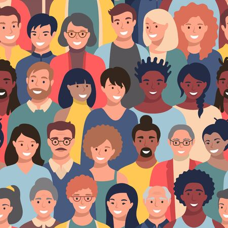 Seamless pattern with people faces of different ethnicity and ages. Parade or meeting crowd, men and women various hairstyles, young and elderly characters heads, repeating background.