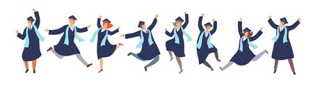 Happy jamping graduated students in graduation gowns in cartoon style . Successful graduation ceremony, education concept. Vettoriali